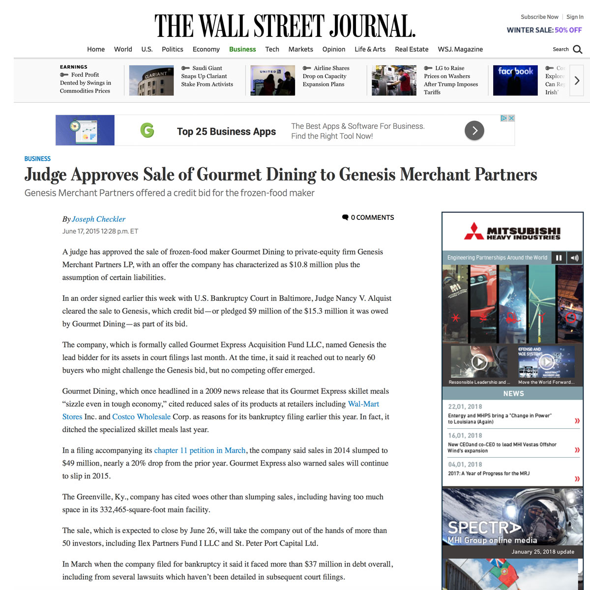 Judge Approves Sale of Gourmet Dining to Genesis Merchant Partners - Martin Sands