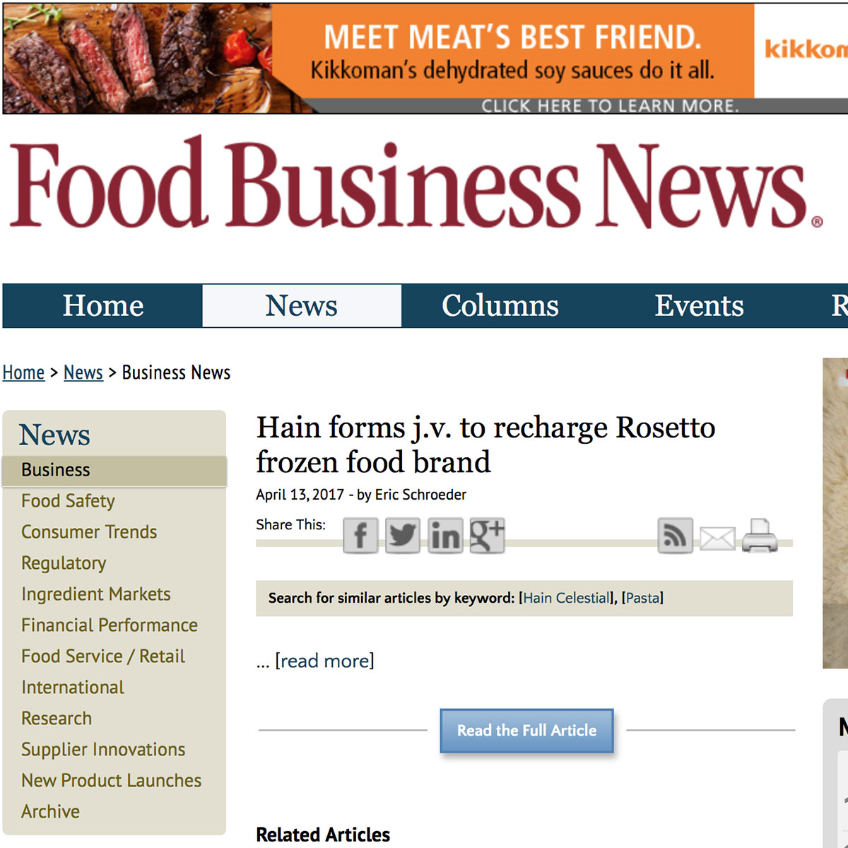Hain Forms J.V. To Recharge Rosetto Frozen Food Brand - Marty Sands